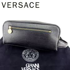 gianni versace gianni versace clutch bag second bag lady s men s possible sunburst black gold leather clutch