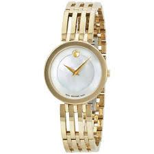 movado esperanza gold wristwatches movado esperanza mop dial gold tone stainless steel ladies watch 0607054