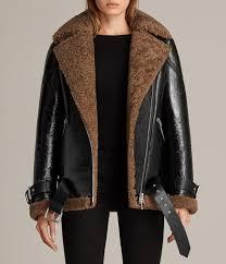 women s hawley oversized shearling biker jacket black brown image 1