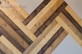 diy herringbone wood paneled wall
