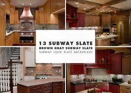 small subway slate backsplash ideas