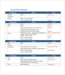 Yearly Event Calendar Template Annual Calendar Template 9 Free Pdf Documents Download Free