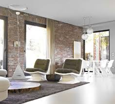 red brick furniture. Contemporary Interior With Exposed Red Brick Wall Combined White Polished Fill Modern Furniture O