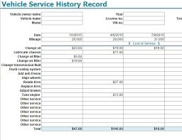 Vehicle Service History Record Template My Excel Templates