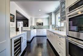 Best wood flooring for kitchen Floorsave White Cabinet Galley Kitchen With Birch Wood Flooring Designing Idea Hardwood Floors In The Kitchen pros And Cons Designing Idea
