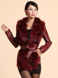 notch collar sash leather beautiful fur jacket for women no 4