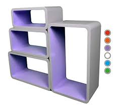 Purple Floating Shelves Best Retro Floating Shelves Bookcase Cube Shelving LO32P GreyPurple