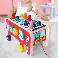 ĐỒ CHƠI GỖ CAO CẤP - Bộ đập chuột hình xe kéo cho trẻ em dưới 3 tuổi tăng  khả năng vận động và kích thích thị giác phát triển chất liệu