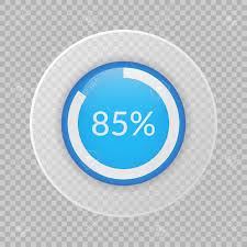 85 Percent Pie Chart On Transparent Background Percentage Vector