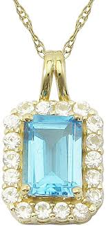 fine jewelry 10k yellow gold genuine blue topaz lab created white sapphire pendant necklace
