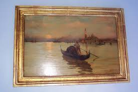 italian oil on wood panel signed lower right by romolo tessaro circa 1868 of a venetian scene of a gondole on the bacino di san marco venice