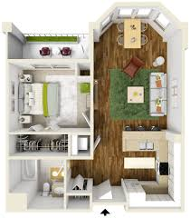 Surprising One Bedroom Apartment Floor Plans D Net Zero Village - Studio apartment floor plans 3d