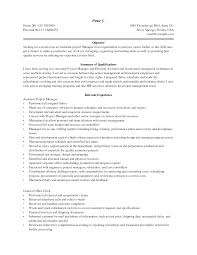 Wondrous Project Manager Resume Objective Terrific Assistant
