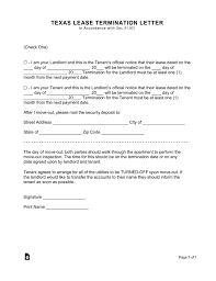 Notice Of Lease Termination Letter From Landlord To Tenant Texas Lease Termination Letter Form 30 Day Notice Eforms Free