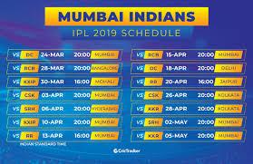 Ipl 2019 Full Schedule Fixtures Timings Venues Of Mumbai
