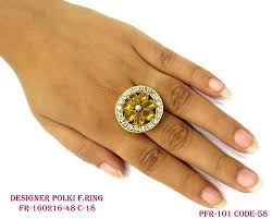 Polki Finger Ring - Gold Round Antique Ring Manufacturer from ...