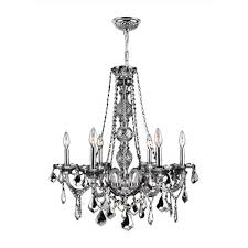 provence collection 6 light chrome finish and chrome crystal chandelier 24 d x 28