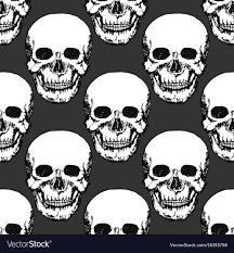 Skull Pattern Amazing Black Skulls Print Skull Pattern Hand Drawn Vector Image