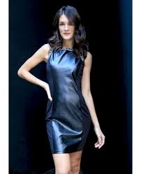 roll over on above image to view it embellished faux leather dress