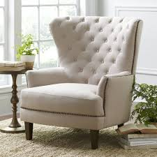 Home Interior:High Back Tufted Black Arm Wing Back Chair Design Beige  Contemporary Reading Chair