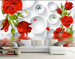 3D TV backdrop roses circle water ...