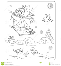 Small Picture Coloring Page Outline Of Cartoon Birds In The Winter Stock Vector