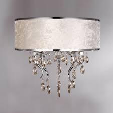 drum light chandelier. Romantic White Flannel Drum Shade Flush Mount Light Chandelier Accented By Amber Crystals
