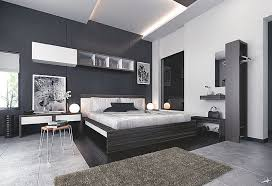 black modern bedroom furniture. New Trend Modern Bedroom Furniture With Cool Using Minimalist  Wooden Bed And Table Lamps Also Shelves Wall Black White Painting Color