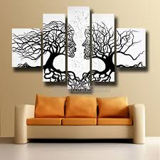 Aliexpress.com : Buy Free shipping hand painted modern black abstract kiss  tree face oil painting on canvas with Hi Q frame wall art home decoration  from ...