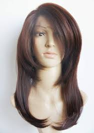 Light Brown Shoulder Length Wig Half Hand Tied Lace Layered Shoulder Length Lace Front Dark Brown Synthetic Hair Fiber Highlight