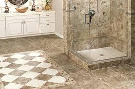 gray ceramic tiled bathroom tile patterns floating vinyl floor over bench having black steel grab bar floating vinyl flooring