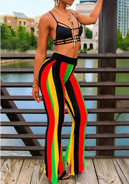 Flare Pants Pattern New Black Striped Pattern High Waisted Casual Long Flare Pants Pants