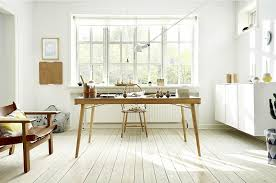 view in gallery slim minimal wooden desk steals the show in this scandinavian room