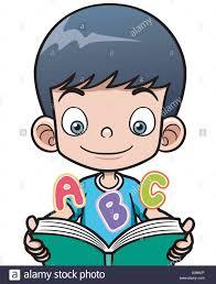 vector ilration of cartoon boy reading a book stock vector