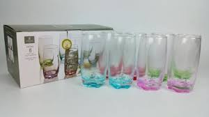 pretty drinking glasses new set of 8 oz glass tumbler drinking glasses 4 pretty colors nice everyday drinking glasses