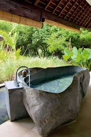 getting in touch with nature soothing outdoor bathroom outdoor bathtub diy