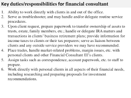 ... 2. Key duties/responsibilities for financial consultant ...
