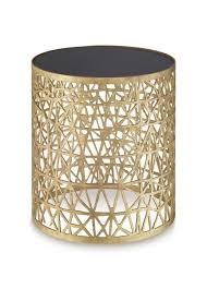 co side table decayed gold with black glass