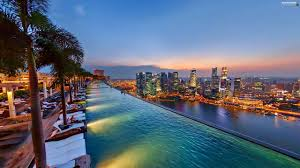 Innovation Infinity Pool Singapore Wallpaper Plain Night Stands Hotel Hall In Concept Design