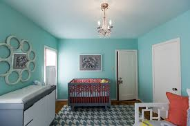 Nursery room with Tiffany blue paint
