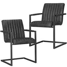 2x Stuhl Set Schwingstuhl Schwarz Esszimmerstuhl Freischwinger Schwinger Metall