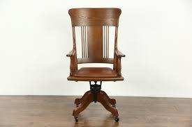 leather antique wood office chair leather antique. Exellent Office Oak 1910 Antique Adjustable Swivel Desk Chair Leather Seat For Wood Office Chair E