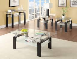innovative glass coffee table set with coaster 3 pieces black tempered glass coffee table set