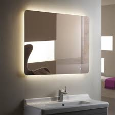 horizontal led bathroom silvered mirror with touch on