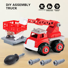 Design Your Own Truck For Fun Details About Children Toys Diy Drill Screws Tool Assembled Fire Rescue Ladder Trucks 2in1 Toy