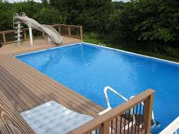 Wood Pool Deck Composite Pool Deck With Slide For Rectangle Above Ground Pool Of