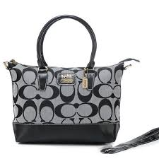 ... coach logo in monogram medium grey totes boa outlet clearance