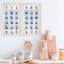 Dutch Kitchen Design Enchanting Kitchen Wall Art Set Of 48 Dutch Tiles Prints Blue Ships Tiles Etsy