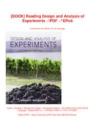Design And Analysis Of Experiments Ebook Book Reading Design And Analysis Of Experiments Pdf Epub