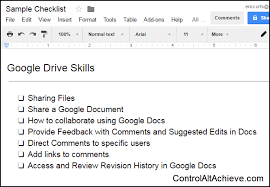 creating a checklist control alt achieve interactive checklists in google docs